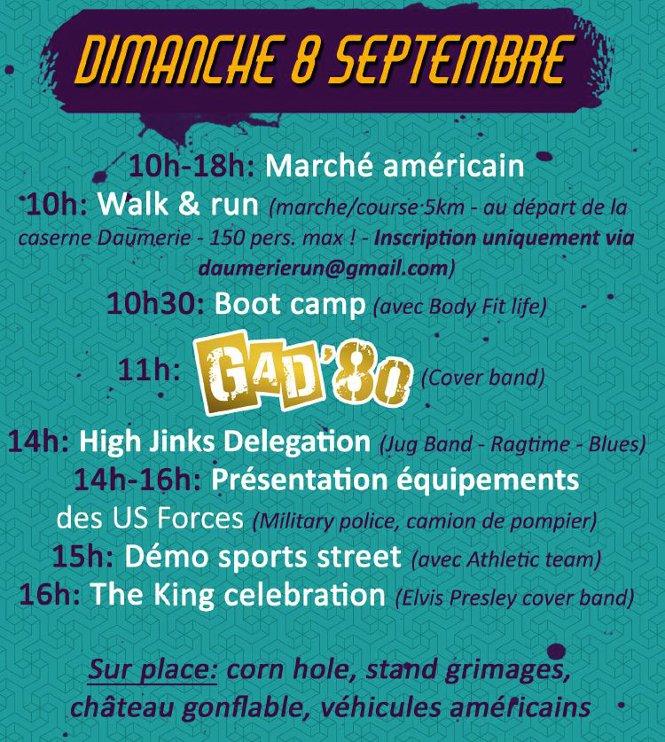 American Festival de Chièvres programme du dimanche 8 septembre
