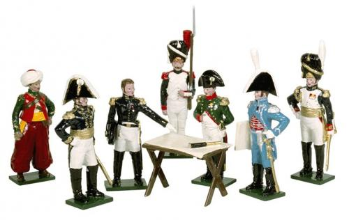 746 - Napoleon's Headquarters with Mamuluke Roustam,  Marshal Bethier, Staff Officer, Imperial Guard Grenadier, Napoleon, Count Gourgaud, General Dorsenne, Map Table