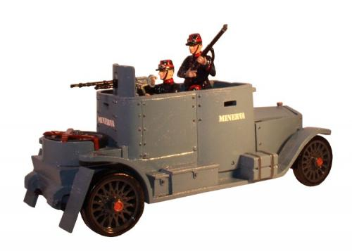 830 - The Minerva Armoured Car with three belgian Crew Painted - EN STOCK