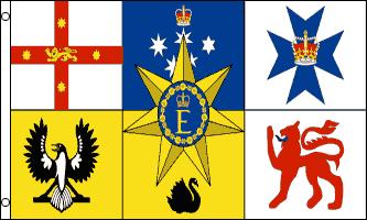 Australia Royal Standard Flag - The Queen's Personal Australian Flag est le drapeau personnel de la Reine Elizabeth II comme Reine d'Australie, approuvé en 1962