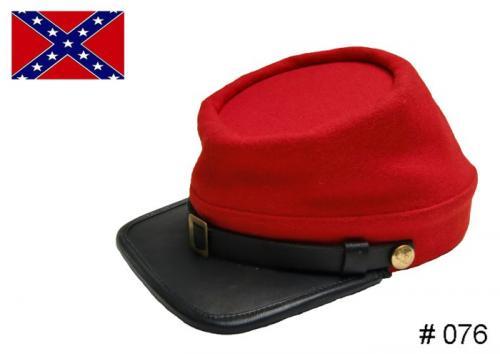 BT076 - Confederate Enlisted Kepi - Red - EN STOCK (tailles M = 56/57 et L = 58/59)