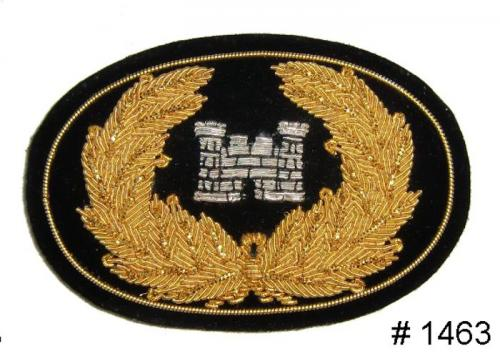 BT1463 - Engineers Coprs Officers Gold and Silver Embroidered Hat Badge - EN STOCK