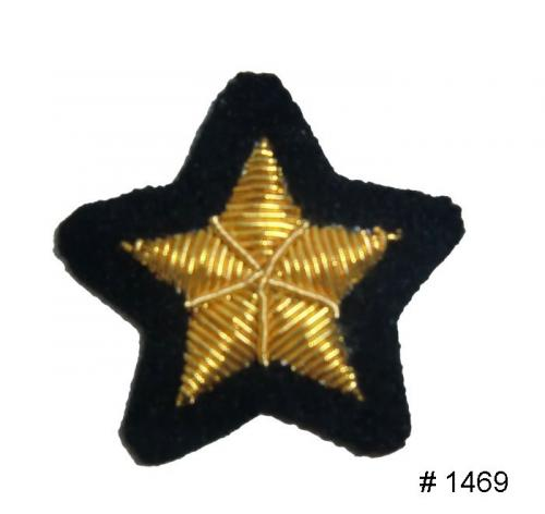 BT1469 - CSA Gold Embroidered Star. A Major had a single star on each side of the collar. A Lieutenant Colonel had two stars on each side of the collar. A Colonel had three stars on each side of the collar - EN STOCK