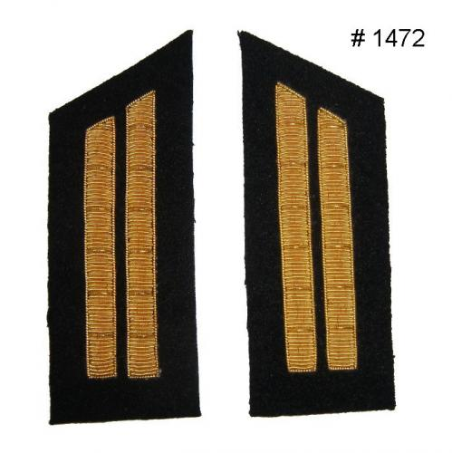 BT1472 - 1st Lieutenant Two Gold Embroidered Collar Bars. Available with Black Background - EN STOCK