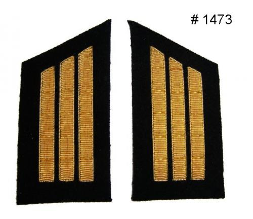 BT1473 - Captain Three Gold Embroidered Collar Bars, Black Background - EN STOCK