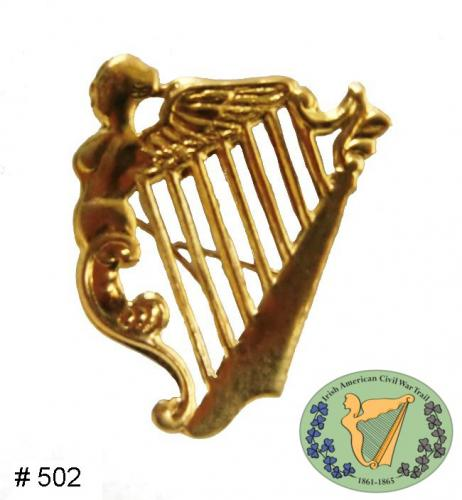 BT502 - Irish Harp Hat Insignia, Brass pressing with attaching wires on back - EN STOCK