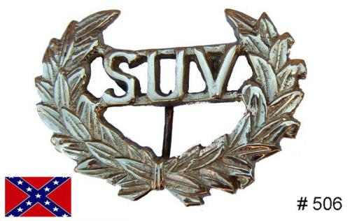 BT506 - SUV Hat Insignia, Solid brass casting with attaching wires on back - EN STOCK
