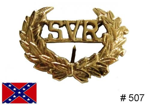 BT507 - SVR Hat Insignia, Solid brass casting with attaching wires on back - EN STOCK