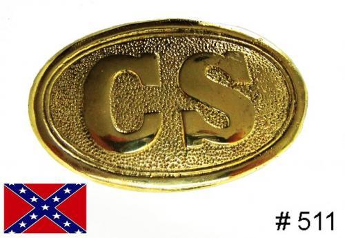BT511 - Standard Civil War CS oval solid brass buckles with hooks on back - EN STOCK