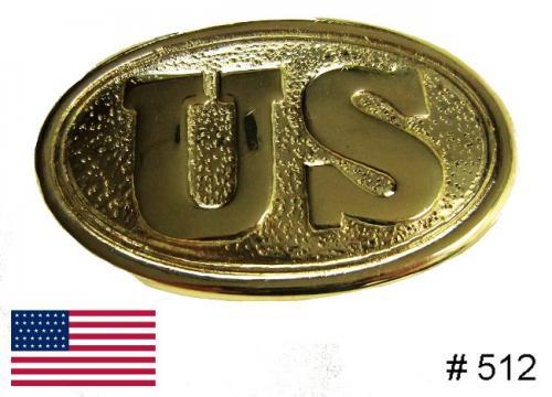 BT512 - US Brass Buckle, Standard Civil War US solid brass buckle with hooks on back - EN STOCK