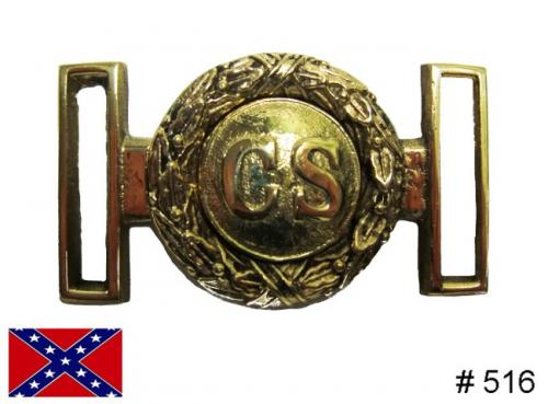 BT516 - Confederate States of America two piece solid brass buckle, plate + spoon - EN STOCK
