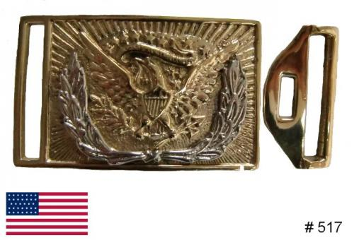 BT517 - US Sword Belt Buckle, US Infantry Officers rectangular solid brass two piece Eagle Sword Belt Buckle with silver wreath - EN STOCK