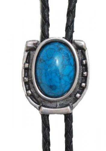 Bolo Tie - BT-1601 - Antique Silver with Blue Stone, Made in USA - EN STOCK