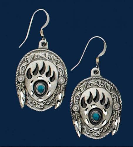 Boucles d'oreilles - E-24 - Bear Claw Earrings with Turquoise - EN STOCK
