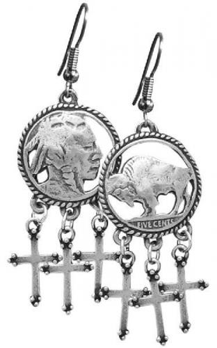 Boucles d'oreilles - EJ-4 - Indian Head Cut Out Earrings-crosses - Made in USA - EN STOCK