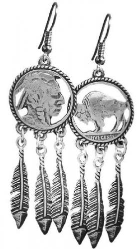 Boucles d'oreilles - EJ-7 - Indian Head Earring cut out-feathers - Made in USA - EN STOCK