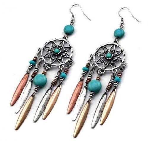 Boucles d'oreilles - EU-100 - New Earrings - Dreamcatcher, Tricolor, Turquoise - EN STOCK