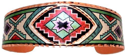 Bracelets - BA-6 - Dazzling Copper Cuff Bracelet is adorned with the Southwest Star in bold colors. (bracelet en cuivre) - EN STOCK