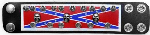 Bracelets - SD-17 - Leather Rebel Spike Skull Bracelet - 3 Skulls - EN STOCK
