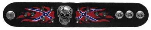 Bracelets - SD-18 -Leather Rebel Spike Skull Bracelet - 2 Rebel Flames - EN STOCK