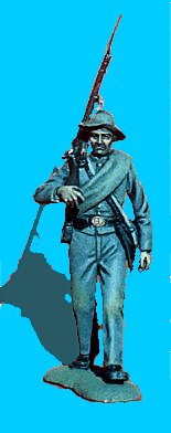 C07 - Walking - Rifle on shoulder - 54mm Confederate infantry (unpainted kit).