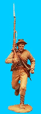 C09 - Running jacket open - Rifle on shoulder. 54mm Confederate infantry (unpainted kit) - EN STOCK