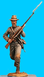 C10 - Runing jacket open - Rifle at ready. 54mm Confederate infantry (unpainted kit) - EN STOCK