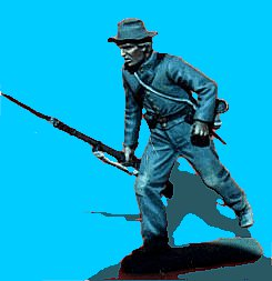 C11 - Running - Rifle at trail. 54mm Confederate infantry (unpainted kit) - EN STOCK