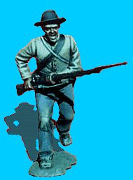 C12 - Running - Rifle levelled. 54mm Confederate infantry (unpainted kit) - EN STOCK