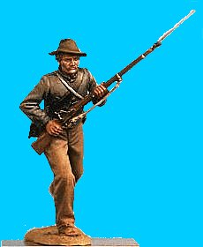 C13 - Running - Rifle at ready. 54mm Confederate infantry (unpainted kit) - EN STOCK