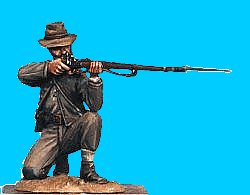C17 - Kneeling - Firing. 54mm Confederate infantry (unpainted kit) - EN STOCK