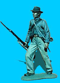 C01 - Advancing - Rifle at trail. 54mm Confederate infantry (unpainted kit) - EN STOCK