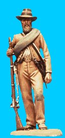 C21 - Standing relaxed - Holding rifle. 54mm Confederate infantry (unpainted kit) - EN STOCK