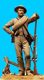 C22 - Standing relaxed - Leaning on rifle. 54mm Confederate infantry (unpainted kit) - EN STOCK