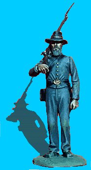 C23 - Standing attention - Rifle on shoulder. 54mm Confederate infantry (unpainted kit) - EN STOCK