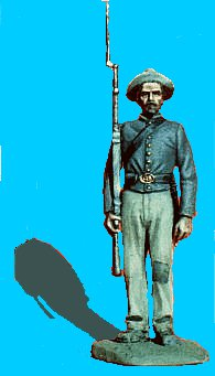C24 - Standing attention - Shoulder arms. 54mm Confederate infantry (unpainted kit) - EN STOCK