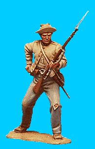 C25 - Knees bent - Reaching for cartridge. 54mm Confederate infantry (unpainted kit) - EN STOCK