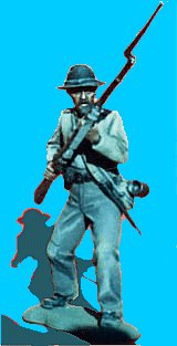 C26 - Knees bent - Rifle at ready. 54mm Confederate infantry (unpainted kit) - EN STOCK