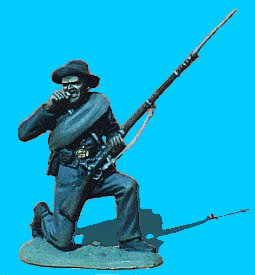 C32 - Kneeling with bedroll - Biting cartridge. 54mm Confederate infantry (unpainted kit) - EN STOCK