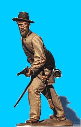 C37 - Officer defending - Sword drawn. 54mm Confederate infantry (unpainted kit) - EN STOCK