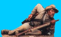 C38 - Confederate infantry lying down racing for cartridge. 54mm Confederate infantry (unpainted kit) - pas de stock