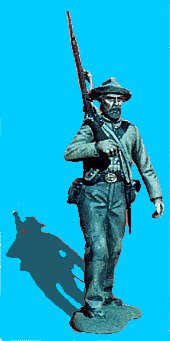 C03 - Advancing - Rifle on shoulder. 54mm Confederate Infantry (unpainted kit.) - EN STOCK