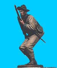 C42 - Confederate infantry - rifle at ready. 54mm Confederate infantry (unpainted kit) - EN STOCK