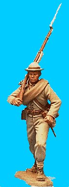 C04 - Charging - Rifle on shoulder. 54mm Confederate infantry (unpainted kit). (removeable blanket-roll) - EN STOCK