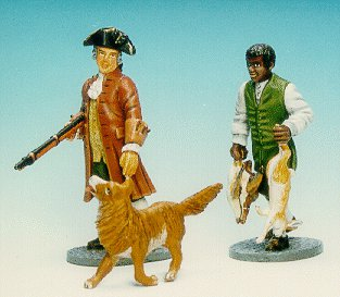 CC14 - Gentleman out hunting with man servant and dog