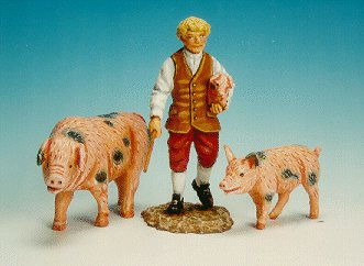 CC16 - Boy carrying piglet, with walking sow and piglet