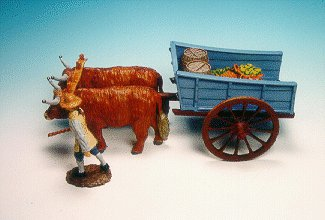 CC24 - Two oxen and cart, with driver