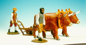 CC38 - Plough with 2 oxen, driver and ploughman