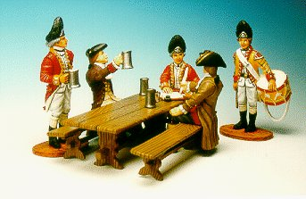 CC39 - Kings Arms Tavern, 2 civilians, 2 Redcoats, 1 drummer