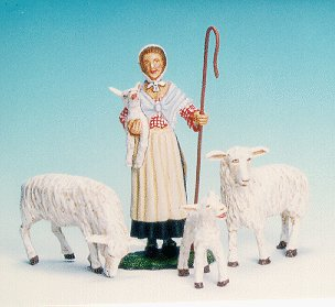 CC06 - Shepherdess, with 2 sheep and lamb
